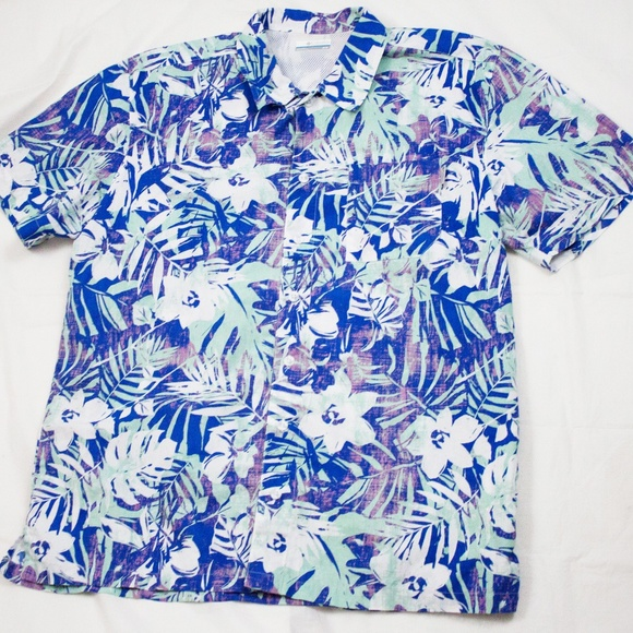 11135a16 Columbia Shirts | Pfg Blue Ss Vented Hawaiian Palm Shirt | Poshmark